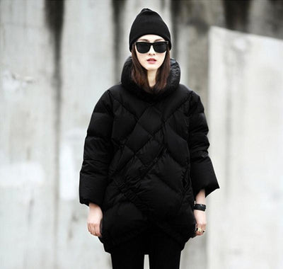 Down Coats - 2015 Best-selling Europe And The United States Women's Black And White Coak Stitching Down Jacket tType Asymmetric Winter Coat -   jetcube