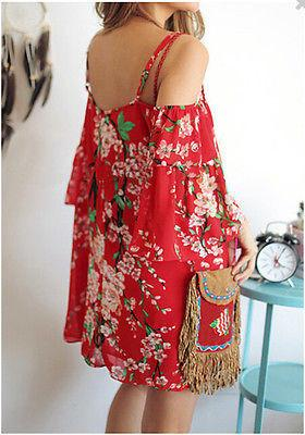 Dresses - 2015 Hot Fashion Women Chiffon Floral Batwing Off Shoulder Evening Party Beach Mini Dress -   jetcube