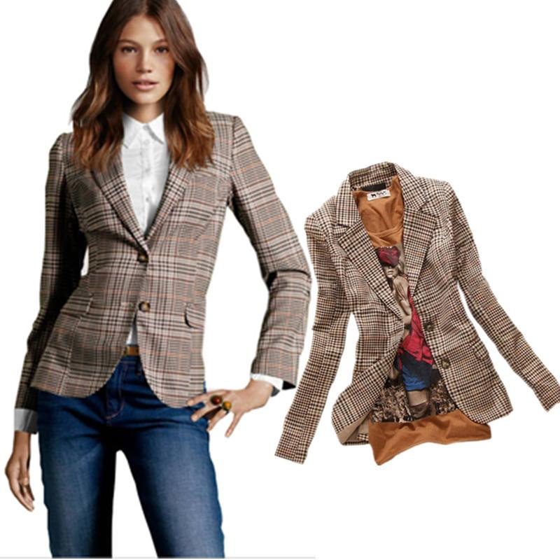 2015 New Fashion Women's Plaid Elbow Patches Slim Blazer Ladies Autumn Suits Basic Jacket Casual Blazer Feminino  A360