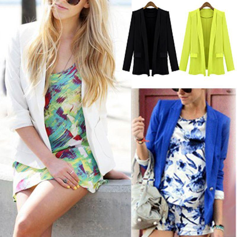 2015 New Style Women's Candy Color Thin Suit Jacket Mock Pockets Long Sleeve Thin Coat for Spring/Autumn plus size