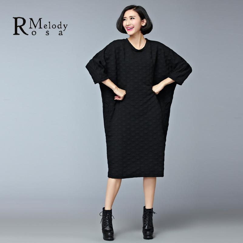 bb6ff829138 Dresses - 2015 Women s Dresses European Style Casual Winter Thick Cotton  Black Gray Plus Size Knee