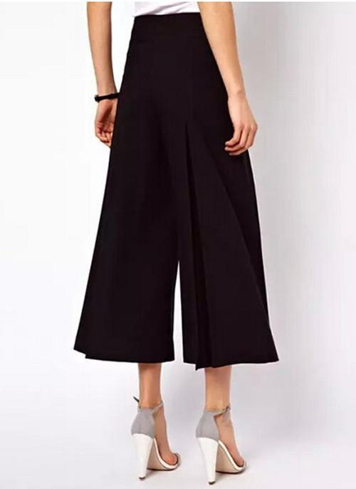 Pants & Capris - 2015 Women's Fashion Solid Color Black / White Loose Capris Pants OL Cropped Trousers Gaucho Retro High Waist Wide Leg Pants -   jetcube