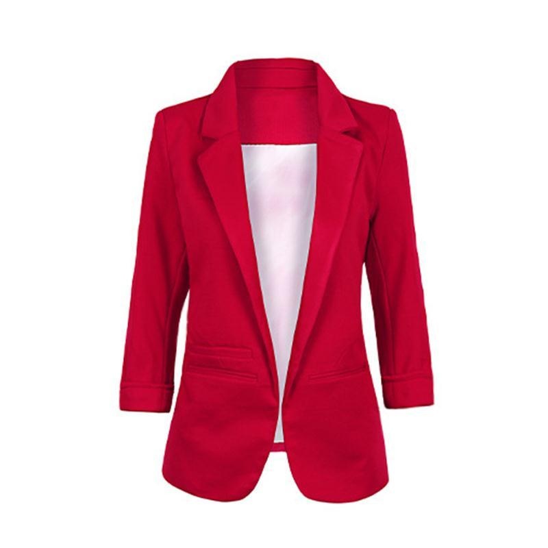 Blazers - 2015 Womens Candy Colors Slim Casual Blazer With Three Quarter Sleeve Notched  Jacket Coat Outwear Plus Size Solid Work Blazer -   jetcube