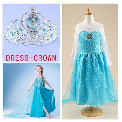Girls Clothing - 2015 girl dress Elsa Anna princess dress costume kids party dresses summer children cosplay dress fantasia infantil Vestido -   jetcube