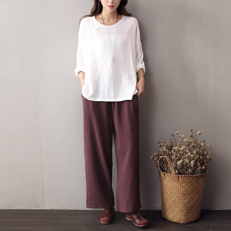 Pants & Capris - 2016 Autumn New women's cotton Linen Wide Leg Pants Female solid color Loose literary Retro casual Elastic Waist Trousers Ladies -   jetcube