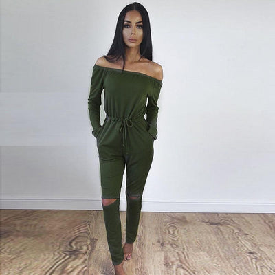 f620b12f088a Jumpsuits - 2016 Autumn Off Shoulder Jumpsuits Long Sleeve Slim Rompers  Womens Jumpsuit Sexy Club Party