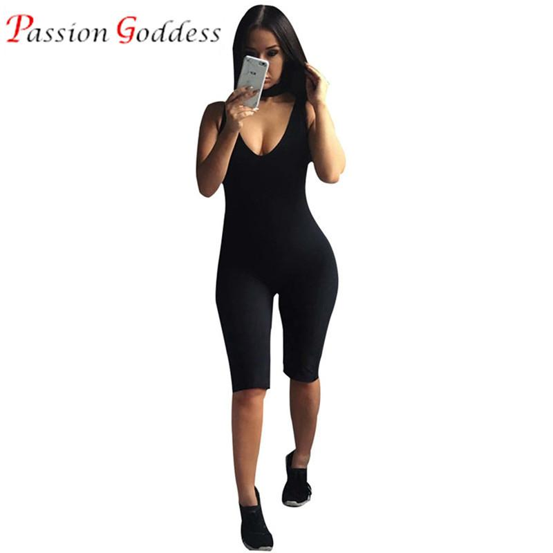 4163afd8e Rompers - 2016 Black Bodycon Bodysuits Sexy Halter Jumpsuit Knee Length  Sleeveless Playsuit Elegant Fitness Rompers