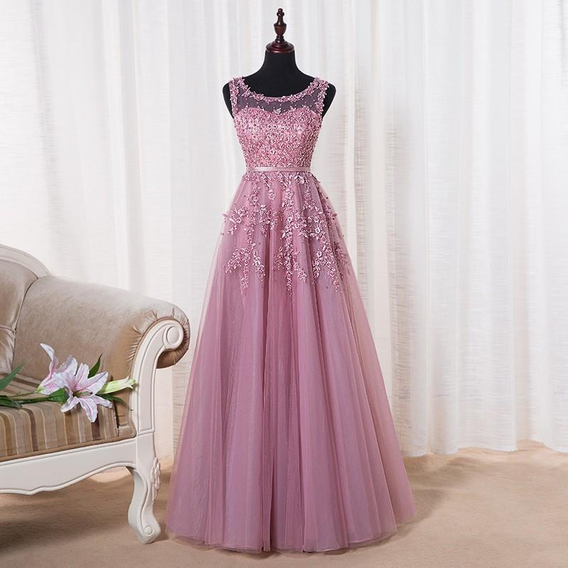 Evening Dresses - 2016 Cheap Long Applique Beaded Prom Dresses Pink Red Burgundy Navy Blue Tulle Sheer Formal Evening Party Dress Vestido De Festa -   jetcube