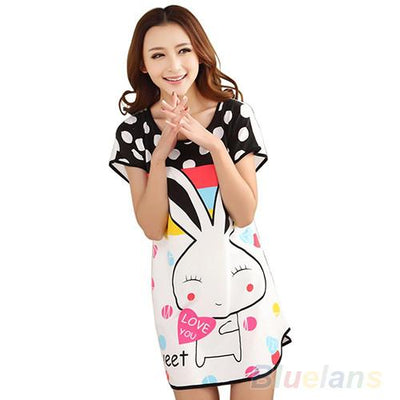 Nightgowns & Sleepshirts - 2016 Fashion Cartoon Women nightwear Polka Dot Sleepwear Short Sleeve Sleepshirt nightgown 8MVV -   jetcube
