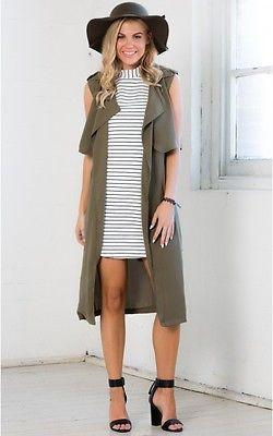 Coats - 2016 Fashion Ladies Long Duster Womens Sleeveless Casual Waistcoat Belt Army Green Trench Clothes -   jetcube