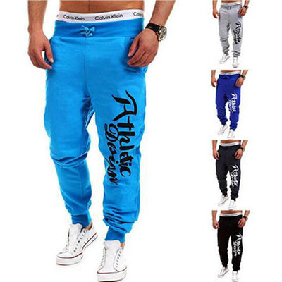 - 2016 Fashion Men Jogger Pants Casual Skinny Sweatpants Letter Print Pants Trousers Bodybuilding Harem Pants Men Pants -   jetcube