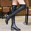 boots - 2016 Fashion PU Leather Over Knee Boots Women Sequined Toe Elastic Stretch Thick Heel Thigh High Riding Boots  #HDS194 -   jetcube