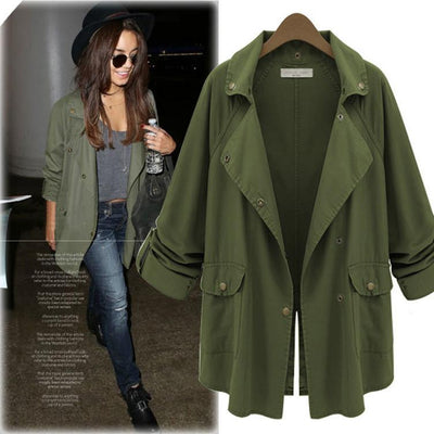 Coats - 2016 Fashion Spring Autumn Thin Women Trench Coat Long Outwear Plus Size Loose Womens Coats Windbreaker Women Army Green -   jetcube