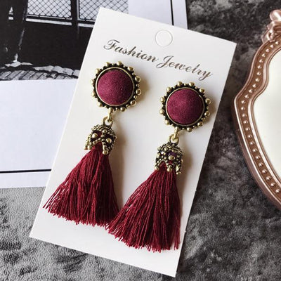 Earrings - 2016 Fashion Vintage Earrings For Women Jewelry Bright Brick Earrings Flower Long Tassel Drop Earrings Dangle Brincos -   jetcube