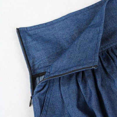 Skirts - 2016 Fashion Wholesale Summer New Women High Quality Thin Loose Large Size Denim Skirt Bust Models cotton denim Skirt Free Belt -   jetcube
