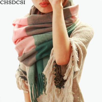 Scarves - 2016 Fashion Wool Winter Scarf Women Spain Desigual Scarf Plaid Thick Brand Shawls and Scarves for Women -   jetcube