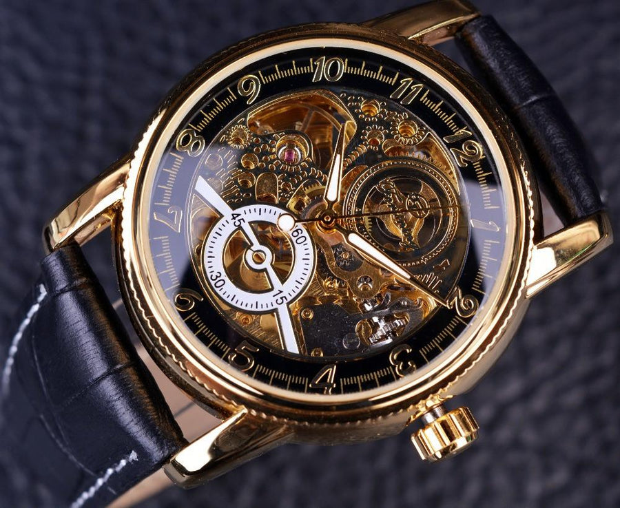 Mens Watches - 2016 Forsining Hollow Engraving Skeleton Casual Designer Black Golden Case Gear Bezel Watches Men Luxury Brand Automatic Watches -   jetcube