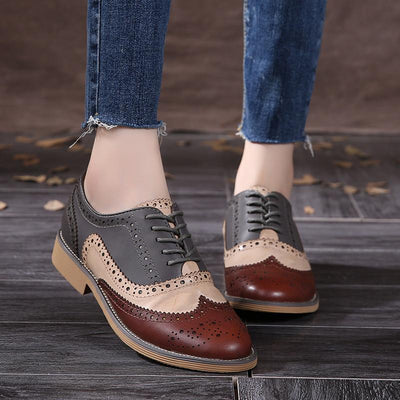 Women's Pumps - 2016 Genuine Leather Shoes Women Brogues Oxfords Flat Heels Round Toe Handmade Women Casual Shoes Plus Size 42 -   jetcube