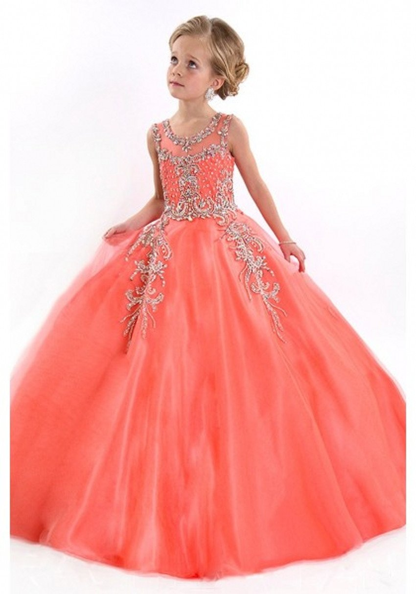 2016 Girls Pageant Dresses For Little Girl Ball Gown Tulle Crystals ...