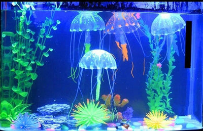 Fish & Aquatic Pets - 2016 Glowing Effect Fish Tank Decor Aquarium Artificial Silicone Vivid Jellyfish -   jetcube