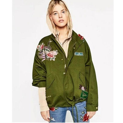 Coats - 2016 Harajuku Red Rose Flower 3D Appliques Embroidery Pike Jacket New Women Stand Collar Loose Coat Casual Outerwear Army green -   jetcube