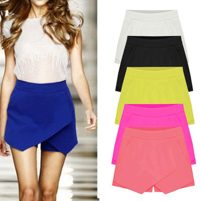 womens shorts - 2016 Hot 6 Colors Womens Tiered Irregular Zipper Culottes Short Shorts Skirt Trousers S M L XL XXL Pure Color Mini Bud Skirts -   jetcube