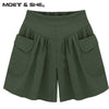 2016 Hot Summer Plus Size 5XL Women's Shorts Pleated High Waist With Pocket Wide Leg Thin Short Pants Khaki Army Green B67238R womens shorts One Two Three Mall- upcube