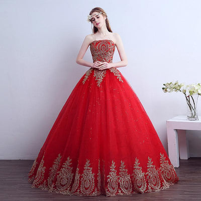 2016 New Ball Gown Lace Tulle Red Wedding Dress with tail Chinese ...