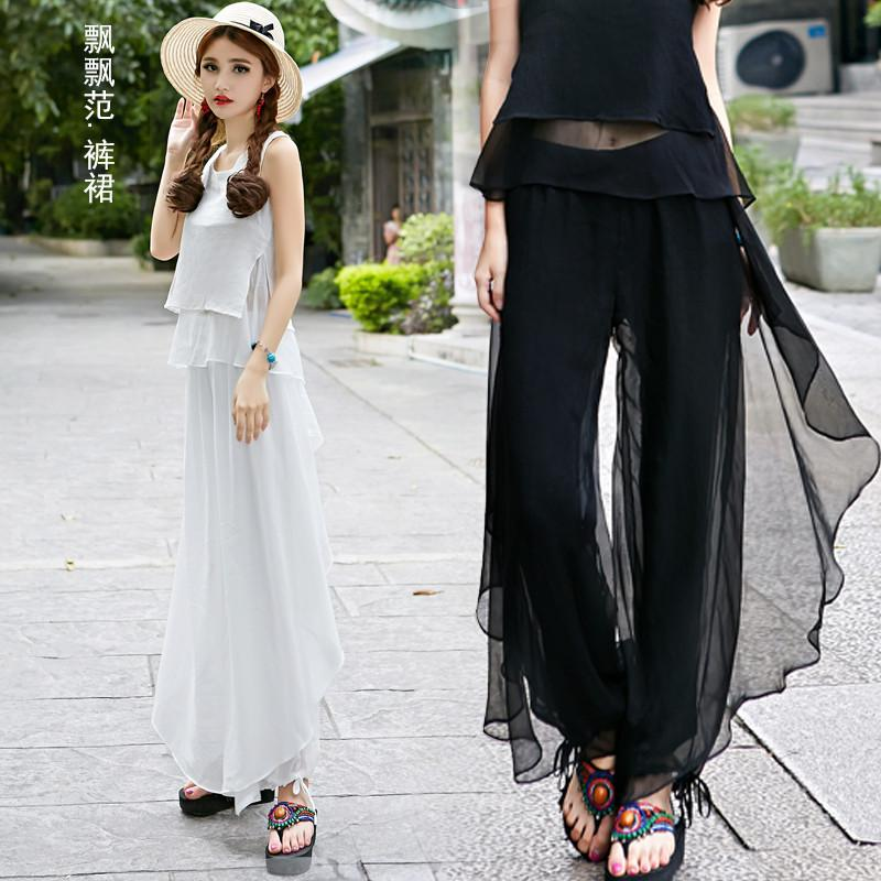 2016 New Fashion Loose National women's Wide Leg Pants elegant chiffon thin long trousers All-match casual pants QS495 Pants & Capris HUA XIU National Characteristic store- upcube