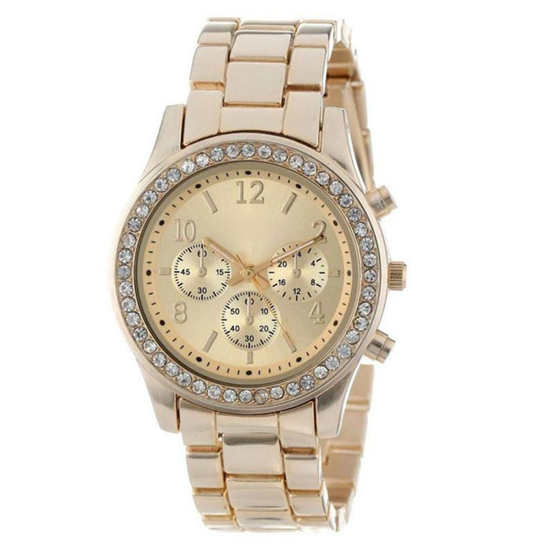 2016 New Faux Chronograph Quartz Classic Round Ladies Women Crystals Watch Students Watch Girls Ladies Watch 555