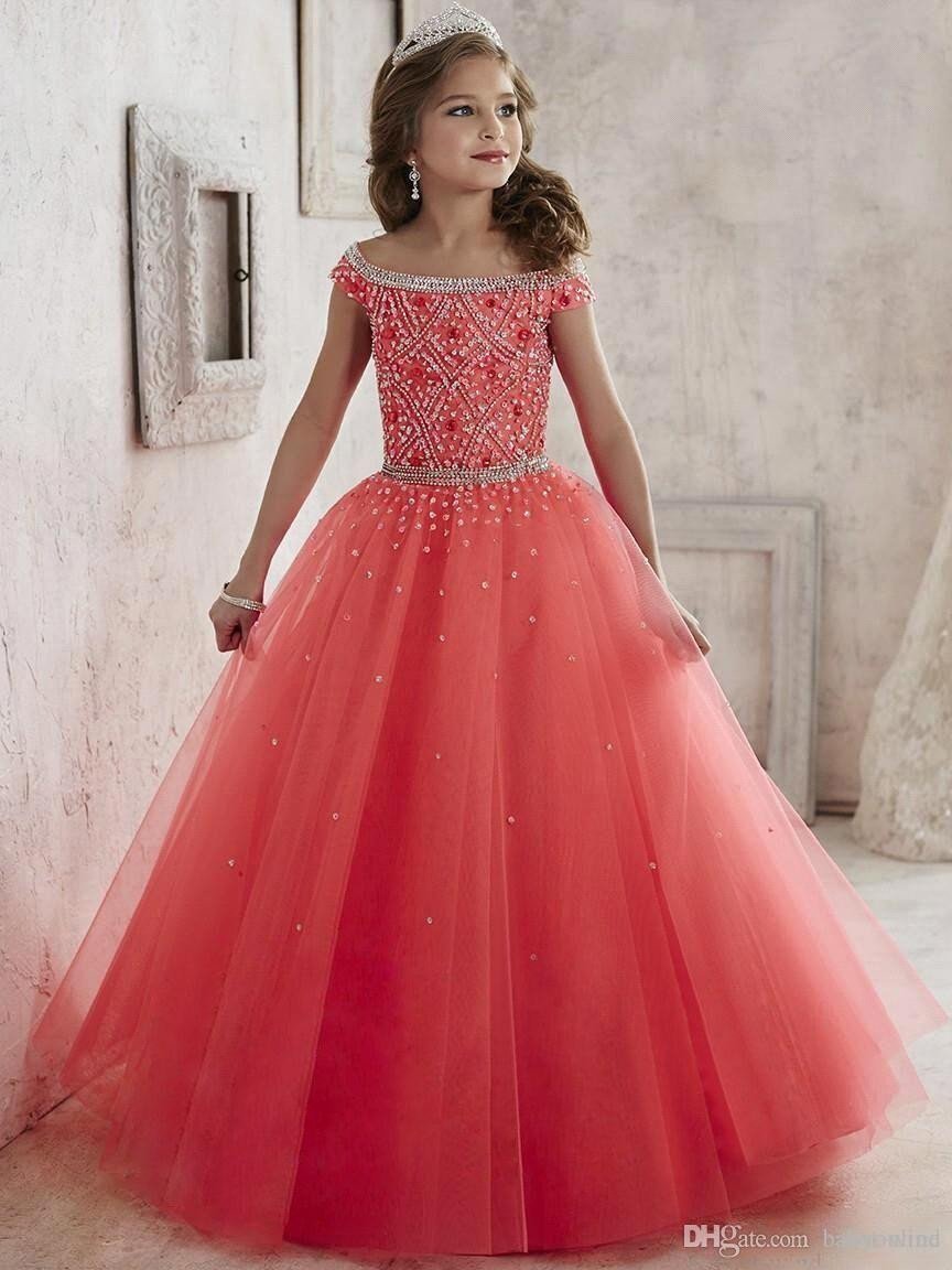 2016 Peach Coral Little Girls Pageant Dresses Off Shoulder Crystal Beaded Tulle Formal Kids Prom Dress Flowers Girls Dresses