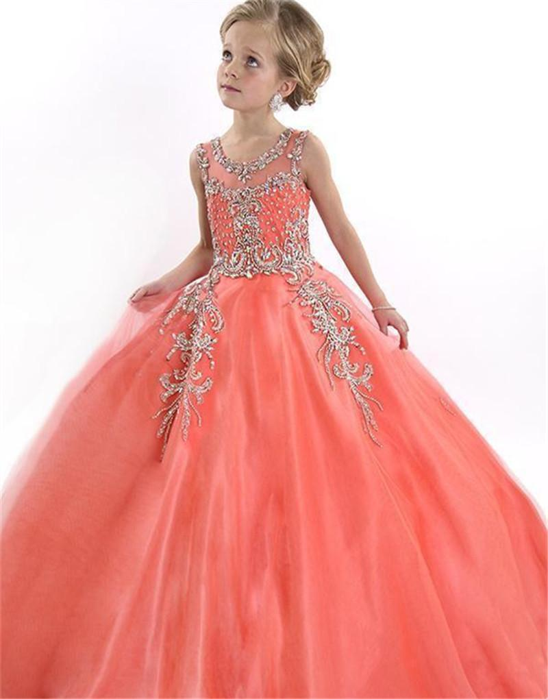 2016 Peach Special Occasion Flower Girl Dresses Cute Tulle Formal ...