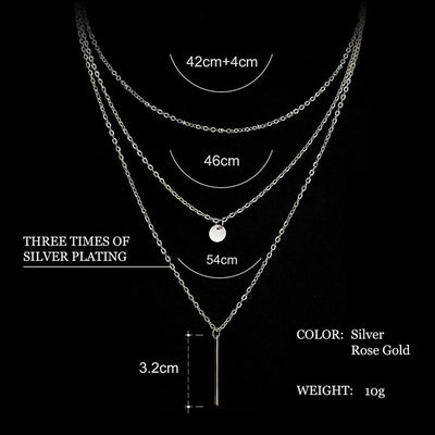 2016 Women's Fashion Jewelry Colar 1pc European Simple Gold Silver Plated Multi Layers Bar Coin Necklace Clavicle Chains Charm Necklaces & Pendants dorado Official Store- upcube