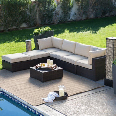 2016 top sale black rattan indoor furniture sofa set with tea table