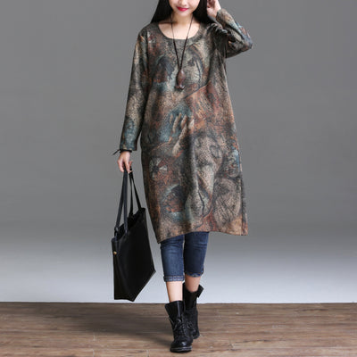 2017 Autumn Arts Style Women long sleeve Dress Loose Casual Long Dress High Quality Vintage Print Dresses Plus Size YT25