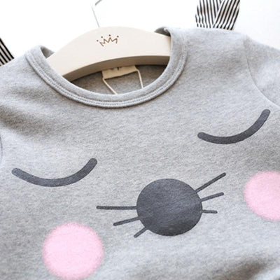 2017 Autumn Children 's Clothing Korean Style Girl's Cartoon Cat Pure Cotton Dress Baby Girl Long Sleeve Shirt Dress  Showing For Yourself- upcube