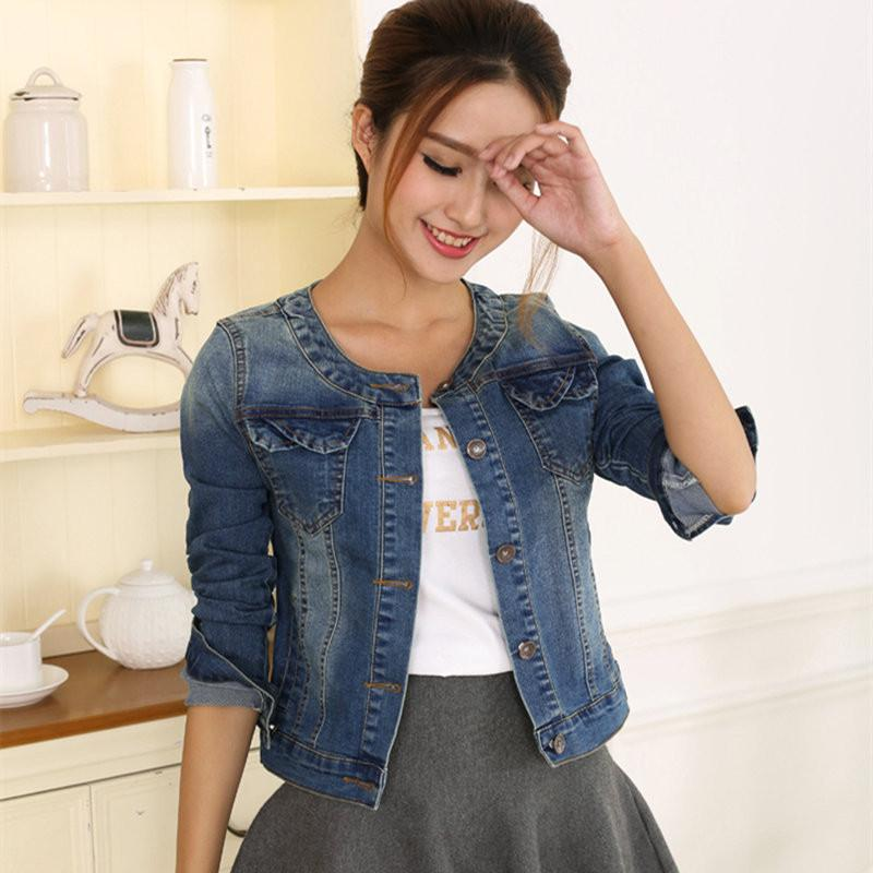 2017 Autumn Denim Jacket For Women Plus Size Long Sleeve O-Neck Short Jeans Jacket Woman Denim Coat