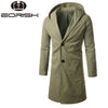 2017 Autumn England Style Army Green Trench Male Hooded Overcoat Single Button Slim Long Coat Men Plus Size 4xl 5xl