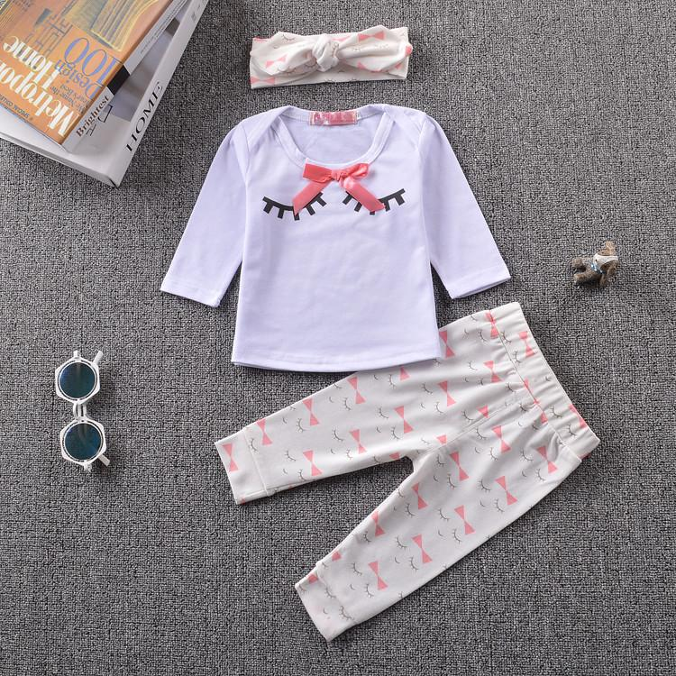 feb0ded8c8bc 2017 Autumn Fashion baby boy girl clothes set cotton long sleeved t ...