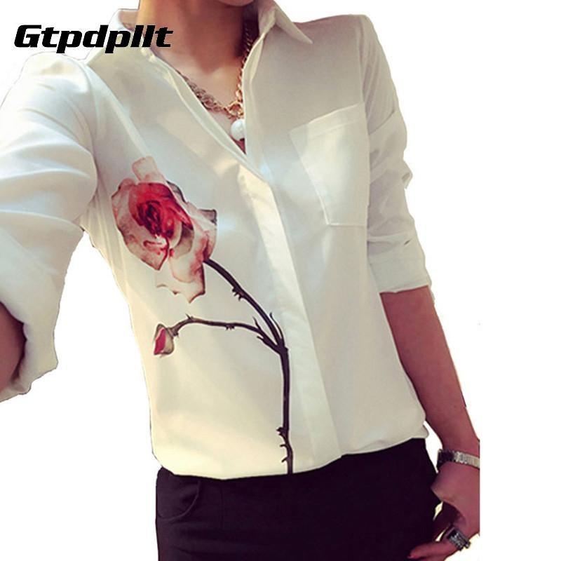 2017 Autumn Rose Flower Printed Long Sleeve Blouse Women Turn Down Collar Chiffon Shirts White Plus Size Women Clothes