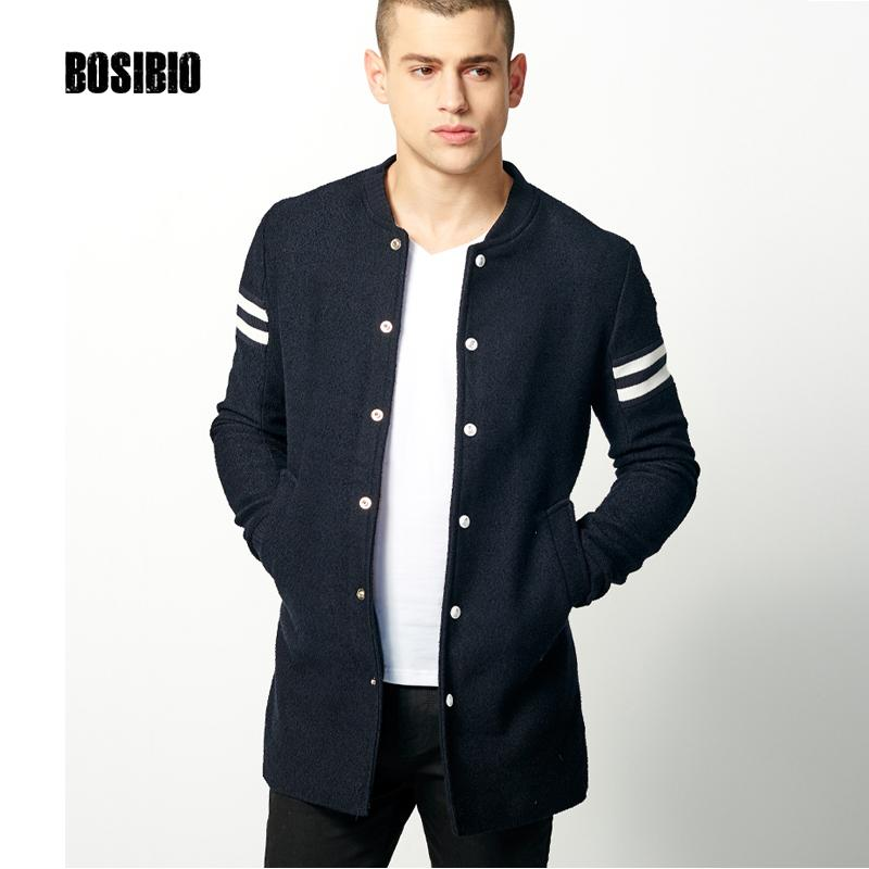 2017 Autumn Spring Long Trench Coat Fashion Men Thin Dark Blue Coat High Quality Men's Slim Single Breasted Jacket Overcoat 9003