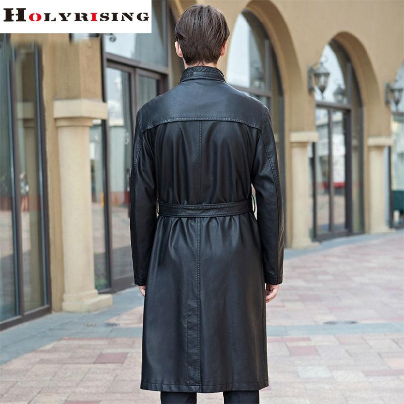 2017 Autumn Winter Black Long Trench Coat Men Stand Collar Casual Pu Windbreak Single Breasted Slim Wind Coat Dustcoat M-3XL