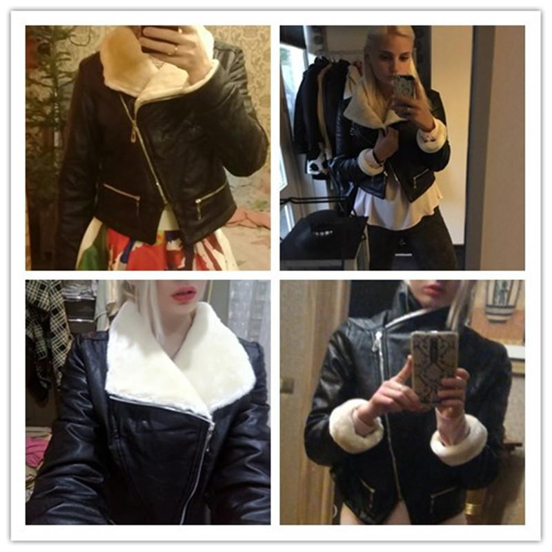 2017 Autumn Winter Coat Women New Brand Leather Jackets Pu Black Women Coat and Jacket Side Zipper Faux Fur Collar Lapel Coat