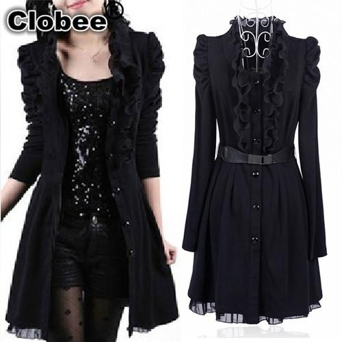 2017 Autumn Winter Trench Coat Women Plus Size Black Lace Dress Coat