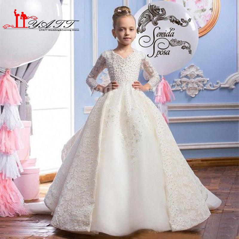2017 Ball Gown Lace Flower Girls Dress with Long Train Full Beading ...