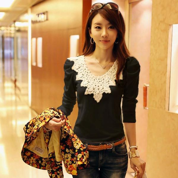 2017 Brand Autumn Spring New Women's Casual Shirt Lace Tops Cute Elegant Long Sleeves Blouses
