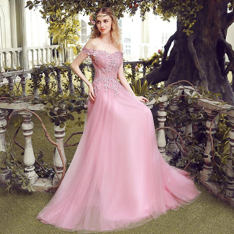 2017 Cheap New Sweet Pearl Pink Lace Embroidery Evening Dresses Bride Slim Sexy Sweep Train Long Prom Dress Custom Party Gown Dresses ekidresses- upcube