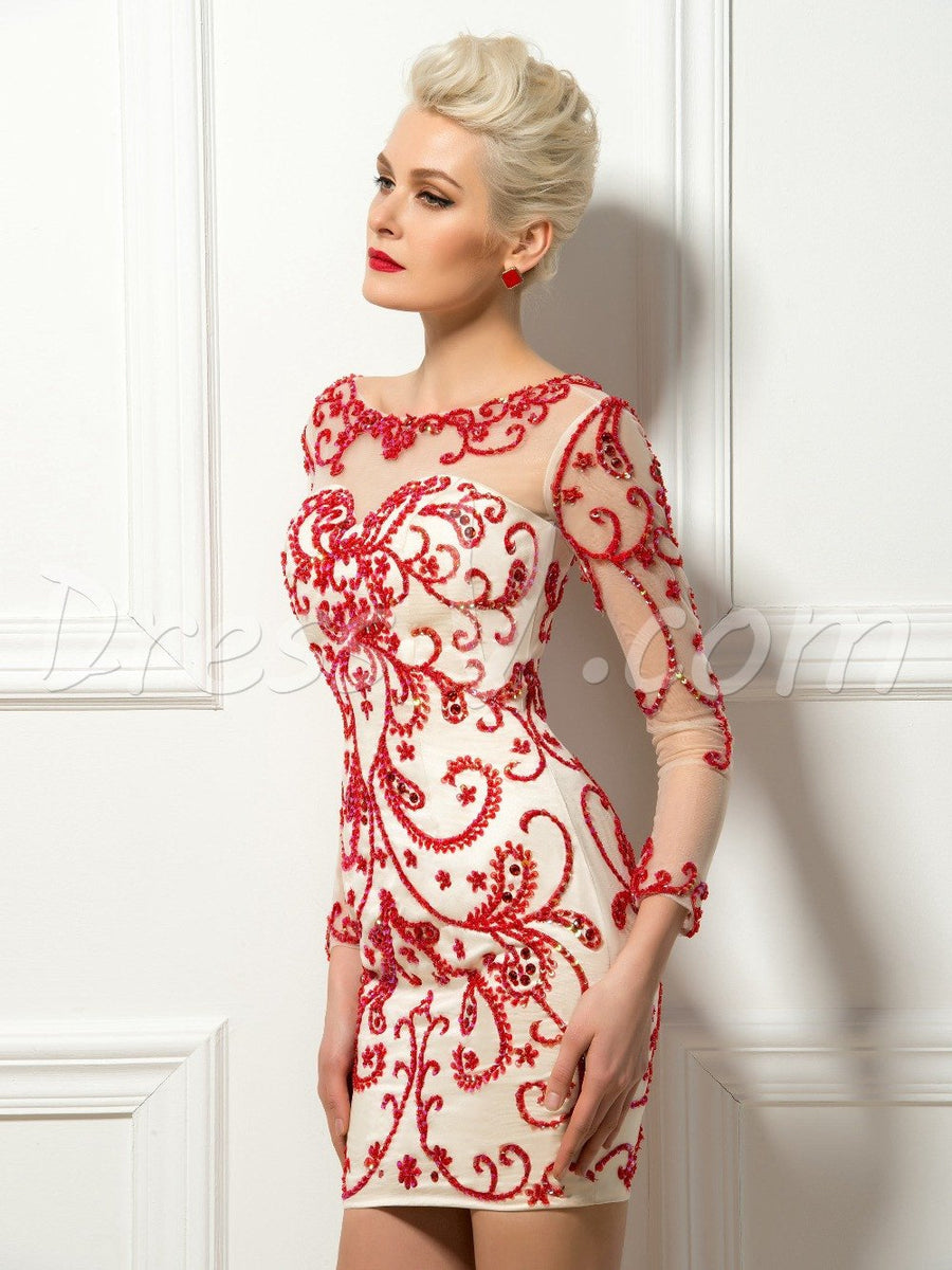 2017 Delicated Short Cocktail Dresses Sexy Sheath Red Fine Beadings Scoop Long Sleeves Vestidos De Cocktail Wedding Party Dress Cocktail Dresses Dressv- upcube