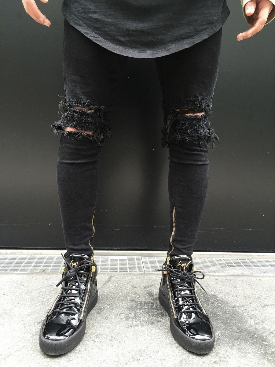 2017 Fashion Hole Jeans Handsome Men Straight Slim Pants Denim Jean Pants Ripped Black Skinny Trousers Jeans CEO- upcube