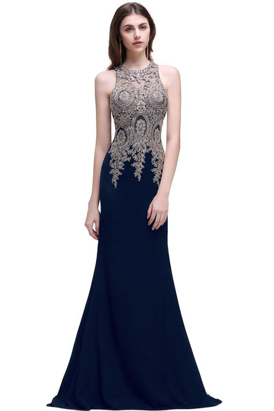 2017 Gold Appliques Crystal Sexy Long Evening Dresses Black Sleeveless Mermaid Evening Party Dress Gowns robe de soiree Evening Dresses party Queen Fashion Store- upcube